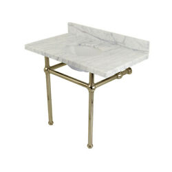 Kingston Brass Kvpb3630mb6 Carrara Marble Vanity Top With Console Legs