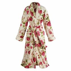 Womenand039s Rose Print Long Robe - Floral Shawl Collar Bathrobe With Patch Pockets