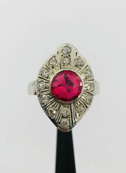 Antique Art Deco 14k White Gold Synthetic Ruby And Pave Diamond Filigree Ring