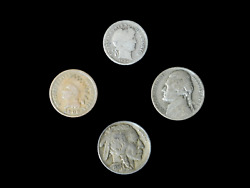 4 Coin Us Estate Lot Set Barber Dime Buffalo Indian Head And Silver 35 War