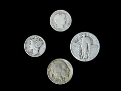 4 Coin Us Estate Lot Set Barber Dime Buffalo Mercury And Standing Liberty