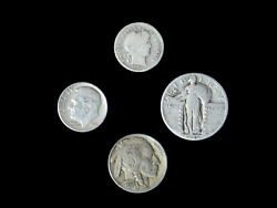 4 Coin Us Estate Lot Set Barber Dime Buffalo Roosevelt And Standing Liberty