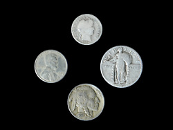 4 Coin Us Estate Lot Set Barber Dime Buffalo Steel And Standing Liberty