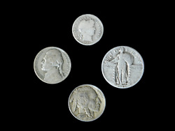 4 Coin Us Estate Lot Set Barber Dime Buffalo Silver 35 War And Standing Liberty