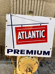 Original And Authentic Atlantic Gasand039and039 Dealer Gas And Oil Porcelain Sign 13andrdquox11andrdquo