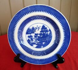 Minton C. April,1877 - Blue And White Blue Willow Wide Rim Display Soup Bowl