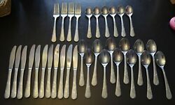 33 Pc Cambridge Stainless Felicity Flatware Forks Knives Spoons Soup