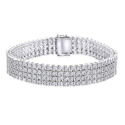 4 Row White Gold Finish Natural Diamond Bracelet Tennis Link 8.5 Inch Menand039s