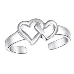 925 Sterling Silver Adjustable Double Open Heart Midi Ring Toe Rings