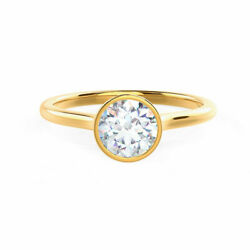 14k Solid Yellow Gold 0.60ct Real Diamond Wedding Round Cut Rings Hallmarked