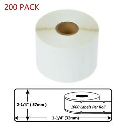 200 Roll Of 1000 Labels 30334 For Dymo Lw 450 400 Twin Turbo 57mm×32mm