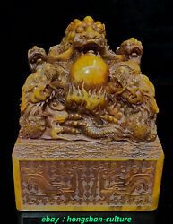 Top Natural Tianhuang Shoushan Stone 5 Dragon Play Perle Sceau Timbre Sceau