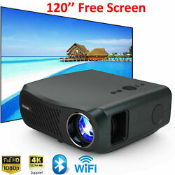 100001 Native 1080p Android Projector 4k Video Led Zoom Blue-tooth 120in Screen