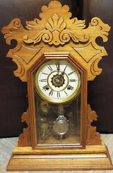 Antique Waterbury Kitchen Clock With Alarm 8-day Time/bell Strike Key-wind
