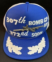 Vintage 307th Bomb Gp Hv 372nd Squadron Air Force Trucker Hat Cap W/ Bomber Pin