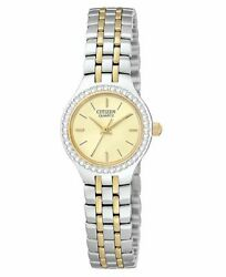 Womens Citizen Ej6044-51p Two-tone Stainless Andreg Crystal Gold Dial Watch