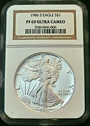 1986-s Proof American Silver Eagle Ngc Pf69