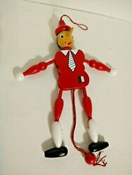 Vintage Marionette Wooden Articulated Pull Toy Pinocchio 9in Tall