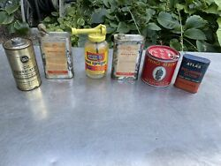 Lot Vintage Machine Ortho Oilers Motor Oil Cans Gas Albert South Bend