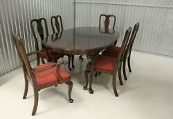 Ethan Allen Georgian Court Dining Table With 6 Splat Back Chairs 11-6211