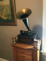 Antique 1892 Edison Standard Phonograph W/ 2 Cylinders