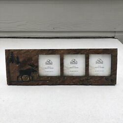 New Big Sky Carvers Moose And Trees Triple 3 X 3 Picture Frame