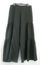 Gaucho Pants Palazzo 14 Black High Waist Long Wide Lagenlook Lined Cottagecore