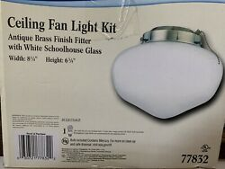 Westinghouse Ceiling Fan 1 Light White Schoolhouse Glass Shade Antique Brass