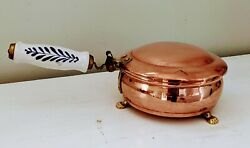 Vintage Copper Porcelain Crumb Catcher Silent Butler Claw Feet Made In Holland
