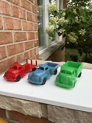 3 Marx Freight Terminal Playset Vintage 50s Plastic Stake Truck Bright Green Usa