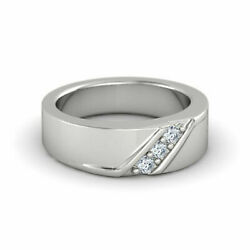 Solid 950 Platinum Ring Certified 0.17 Ct Real Diamond Weeding Mens Band 9 11 12