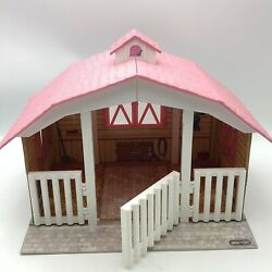 Breyer Horse 3 Stable Barn Pink Roof Stall Classics Gate Playset Hurdle Jump 688