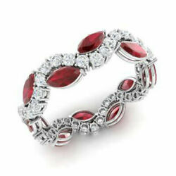 3.40 Ct Natural Ruby Gemstone Band Solid 950 Platinum Diamond Bands Size 7.5 8 9