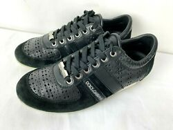 Dolce And Gabbana Black Leather Suede Classics Mens Sneakers Trainers Shoes Sz 5.5