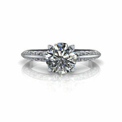 Real 1.10ct Diamond Engagement Round Cut Ring 14k Solid White Gold Size 6