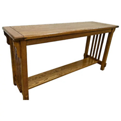 Vintage Arts And Crafts Sofa Table Console Solid Oak Bottom Shelf Tenon Joints