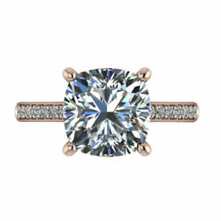 Cushion Cut 3.20 Ct Moissanite Wedding Ring For Women Solid 14k Rose Gold 7 8