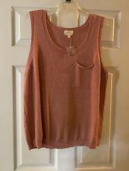 Perch By Blu Pepper-button Back Sleeveless Sweater Tank Top Womenandrsquos - 2xl - Nwt