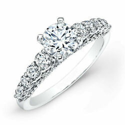 1.40ct Real Round Cut Diamond Engagement Ring Size 6.5 14k White Gold