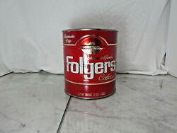 Vintage Folgers Metal Coffee Can 39 Ozs. Automatic Drip Empty Prop 1980s