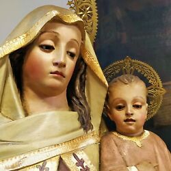 Virgin Mary With The Child. Carved And Polychrome Wood. Spain. Xix-xx Century