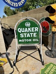 Original Quaker State Tombstone Gas Station Driveway Sign And Bracket