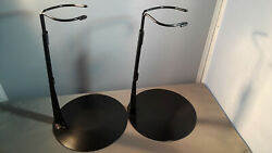 Doll Stands Set Of 2 Black Metal Stands 16-26 Inch For Dolls And Bears By Kaiser
