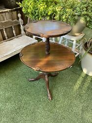 Antique Two Tiered Mahogany Pie Crust Dumbwaiter Table Stamped 1007 Queen Anne