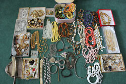 Vintage Costume Jewelry Lot Monet Trifari Gold Toned Necklace Ring Earrings