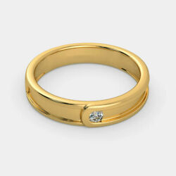 Natural 0.10 Ct Diamond Menand039s Engagement Rings 14k Hallmarked Yellow Gold Size 9