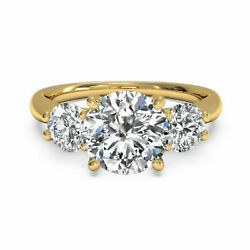 1.30ct Lab Created Diamond Solitaire Rings Round Cut 14k Yellow Gold Hallmarked