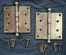 4x4 Cleaned Antique Vintage Old Harvard Solid Brass Exterior Entry Door Hinges