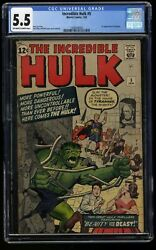 The Incredible Hulk 5 Marvel Silver Age 1963 Cgc 5.5 Ow/w Pages 1st Tyrannus