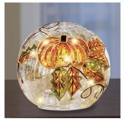 Lighted Large Crackled Glass Ball With Pumpkin Design Col